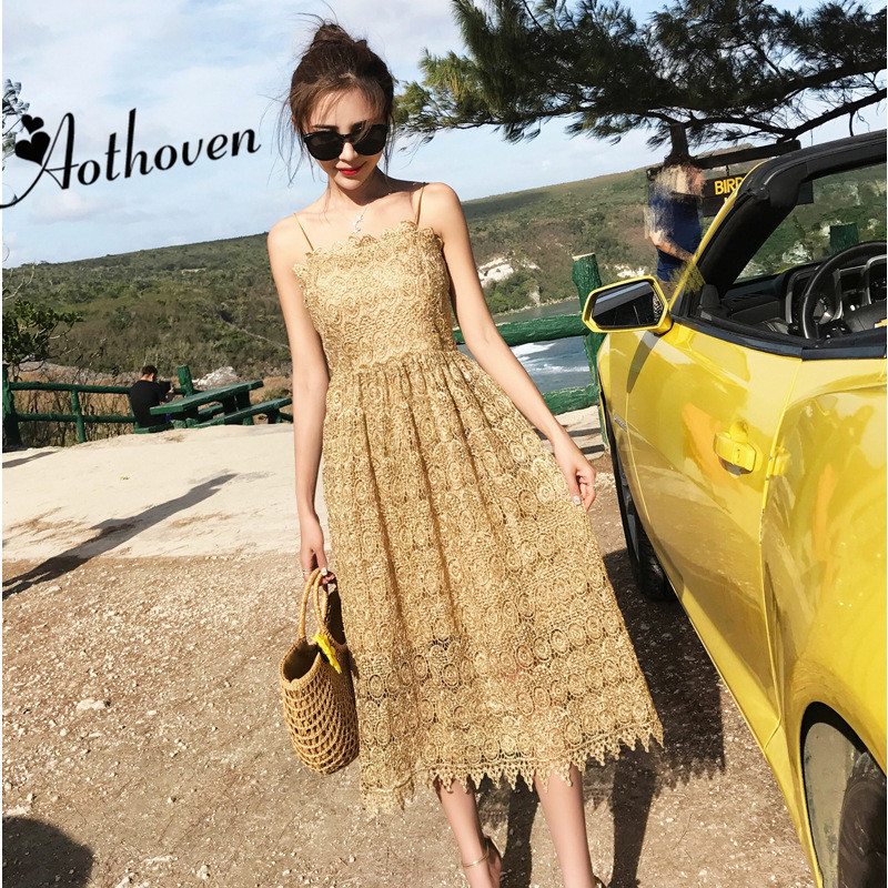 Summer Party Dresses Runway Show Gold High-end Women Dress Lady Bandage Bodycon Vintage Sexy Spaghetti Strap Long Lace Dress ...