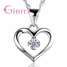 Authentic Solid 925 Sterling Silver Cubic Zirconia CZ Heart Pendant Necklace Forever Love Women Wedding Anniversary Jewelry(China)