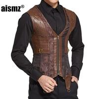 Aismz Men Body Shaper Vest Vintage Steampunk Corset Leather Zipper Korset Tops Man Waist Trainer Belly
