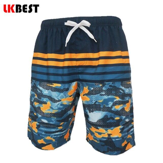 LKBEST Новый летний мужские пляжные шорты сетчатая Подкладка Повседневная полосатый совета шорты свободно плюс Размер плавки шорты Q109