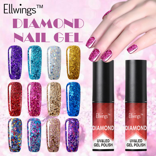 Ellwings 1pcs Super Glitter Nail Gel Uv Diamond Gel Polish Hot Gloss