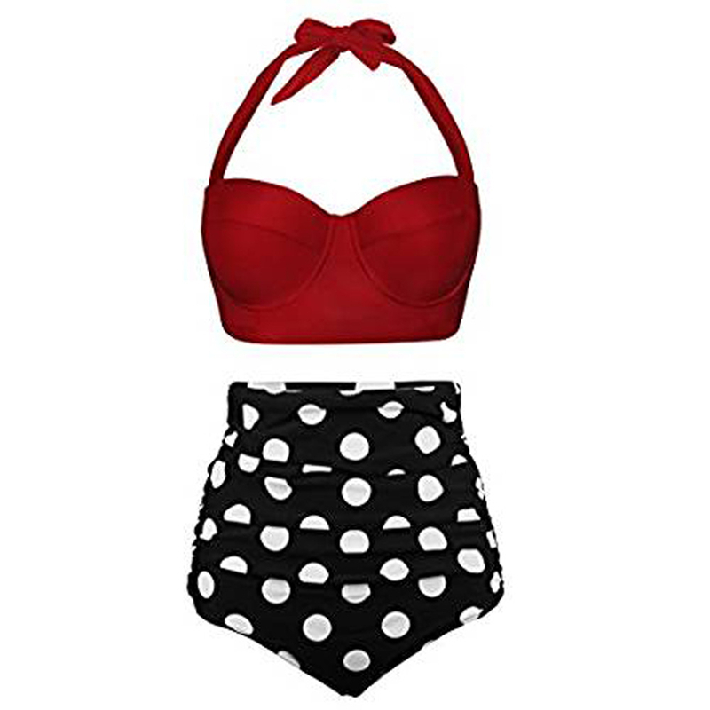 Bikinis Women 2019 High Waist Swimsuit Bodysuits Swimwear Print Bathing Suits Beach Wear Two Piece Tankini Set Floral in Bikinis Set from Sports Entertainment