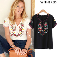 Withered 2017 Women BTS T Shirt Crop Top Rayon Vintage Ethnic Style Indie Folk Embroidery Floral