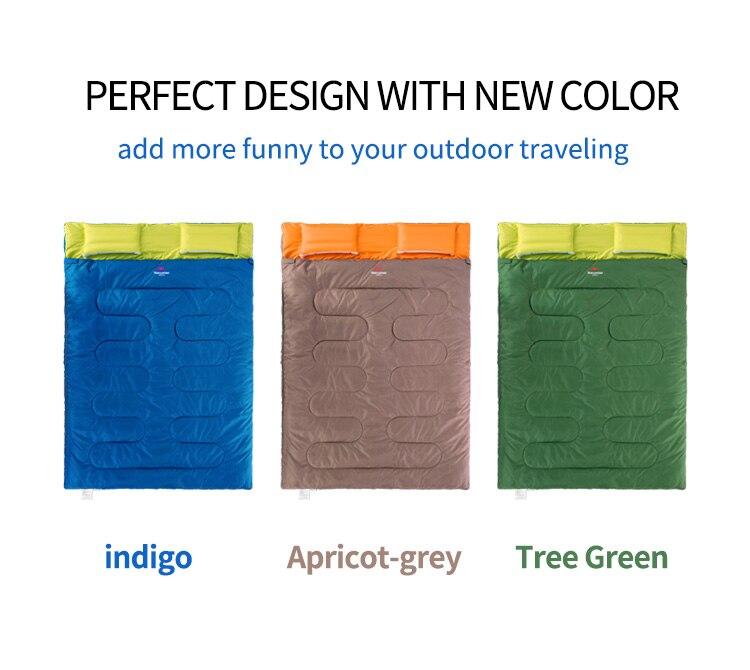 Naturehike Новый хлопковый спальный мешок для 2 человек, спальный мешок для кемпинга с подушкой, спальный мешок для полудня - 5