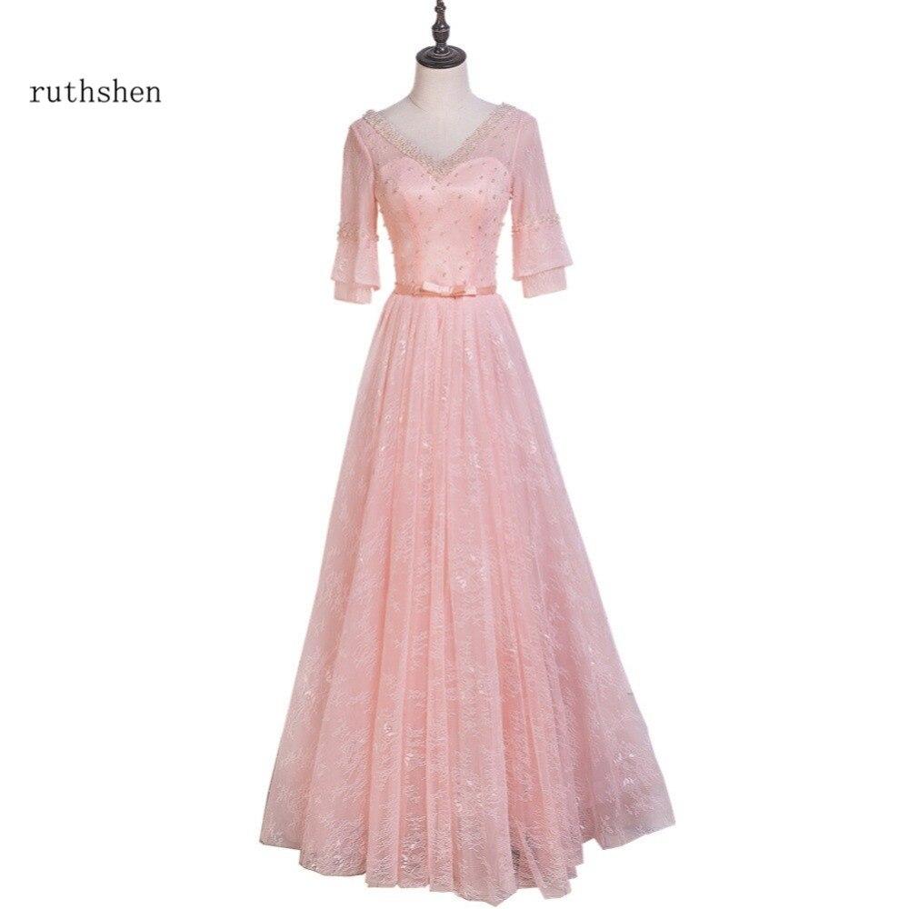 5decc10cd Detalle Comentarios Preguntas sobre Ruthshen vestido De noche largo 2018 V  cuello media manga encaje Rosa Luz Prom Formal con reborde Vestidos De Gala  ...