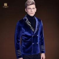 FANZHUAN New winter men's male man dress jacket singer DJ stage Club bar Nightclub wedding banquet embroidery blue blazer 710203