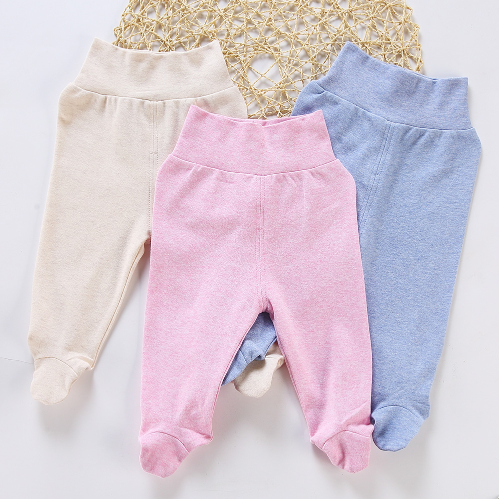 Baby Pants 100% Cotton Infant Footies Pants Baby Newborn Tights Kids Pants Baby Clothes Spring Autumn High Waist Baby Trousers