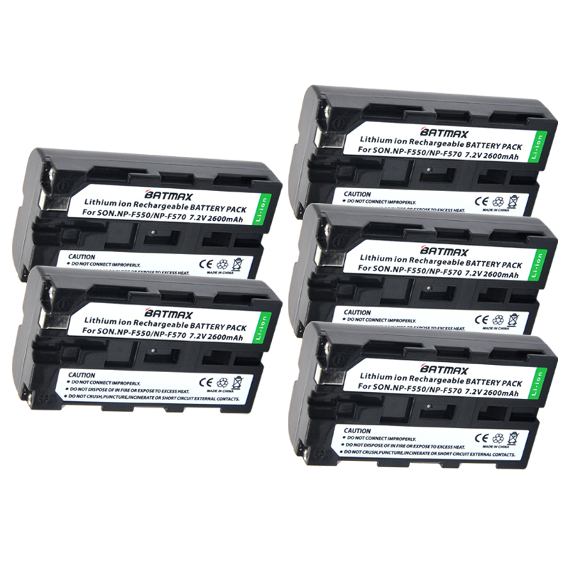 5 pz NP-F550 NP F550 NPF550 batteria Ricaricabile Li-Ion (2600 mAh) per Sony NP-F330 NP-F530 NP-F570 NP-F730 NP-F750 Hi-8