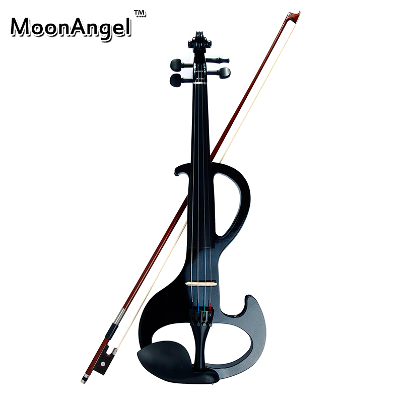 High Quality Violin China Brand Classic Black Electric Violin with Violin Case and Violin Bow Compact Structure & Excellent Tone 4 4 high quality 5 string electric violin yellow 2 pickup violin
