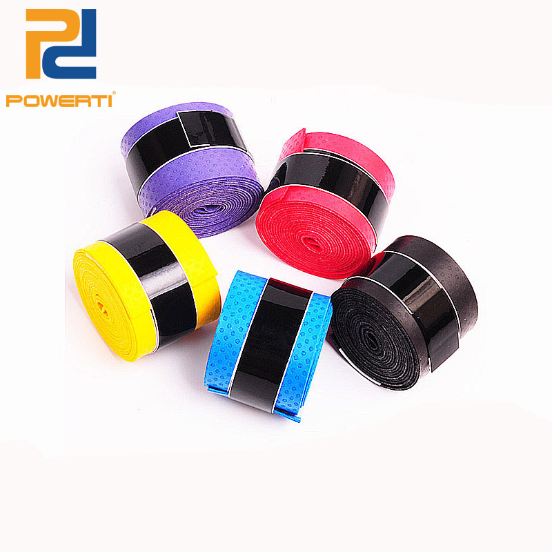 Powerti 10pcs/lot Dry abrasive Tennis Racket Grip Tape Sweat Badminton Racket Breathable Overgrip Tape