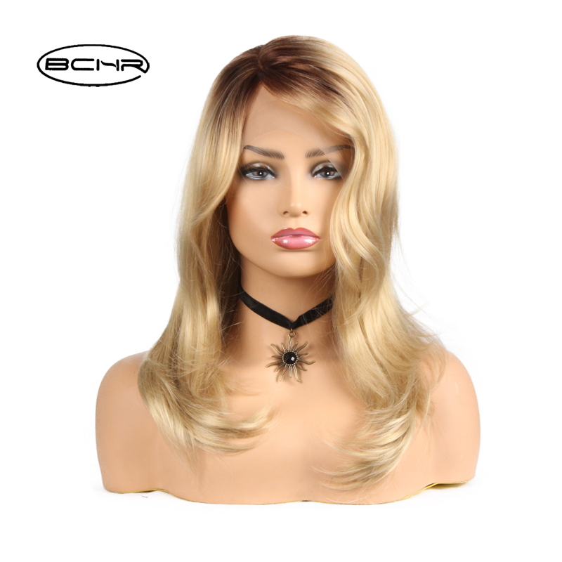 BCHR Heat Resistant Synthetic Lace Frontal Long Gold Ombre Color Wig 24For ALL Women ...
