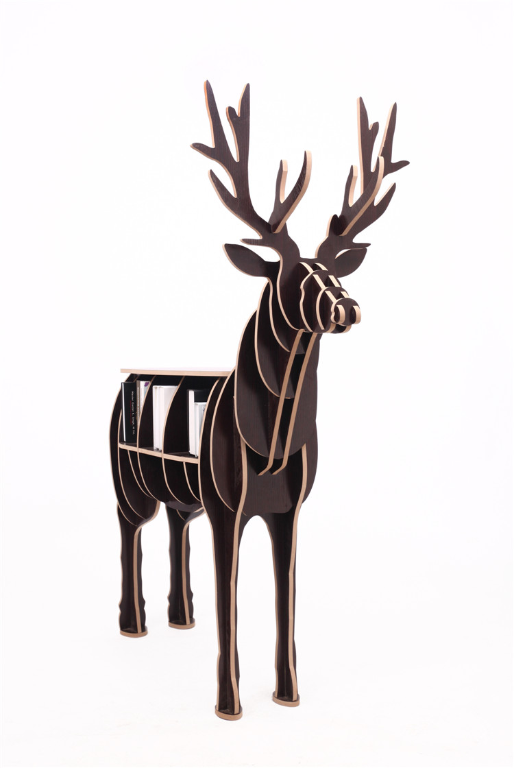 46.5 Wooden Reindeer Home Decor Shelf Bookcase Coffee Table DIY Self-build Living room Puzzle Furniture