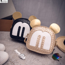 HANSOMFY   The Export Of 2015 New Fashion Cute Cartoon Purse Woven Bag Mickey Buns Single Shoulder Bag
