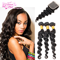 Stema Hair With Closure Brazilian Loose Wave Virgin Hair With Closure 3pcs Brazilian Virgin Hair With Closure 7a Unprocessed