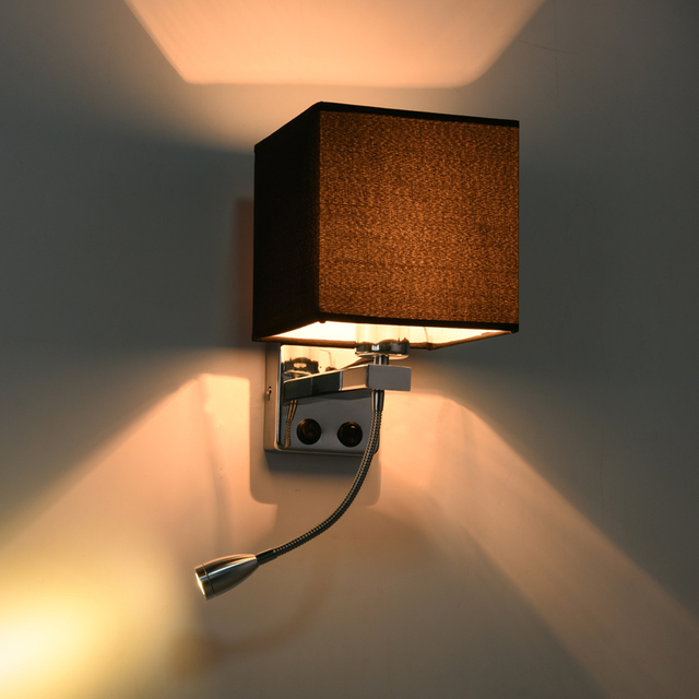 Contemporary Wall Lamp Sconce with Fabric Lampshade