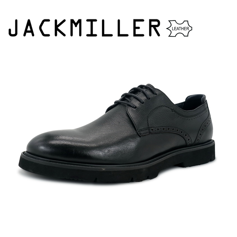 Jackmiller Fashion Top Leather Men's Dress Shoes Round Toe Oxford Shoe Lace Up Design Luxury Black Business Casual size 39-45 black spaghetti lace up design vest