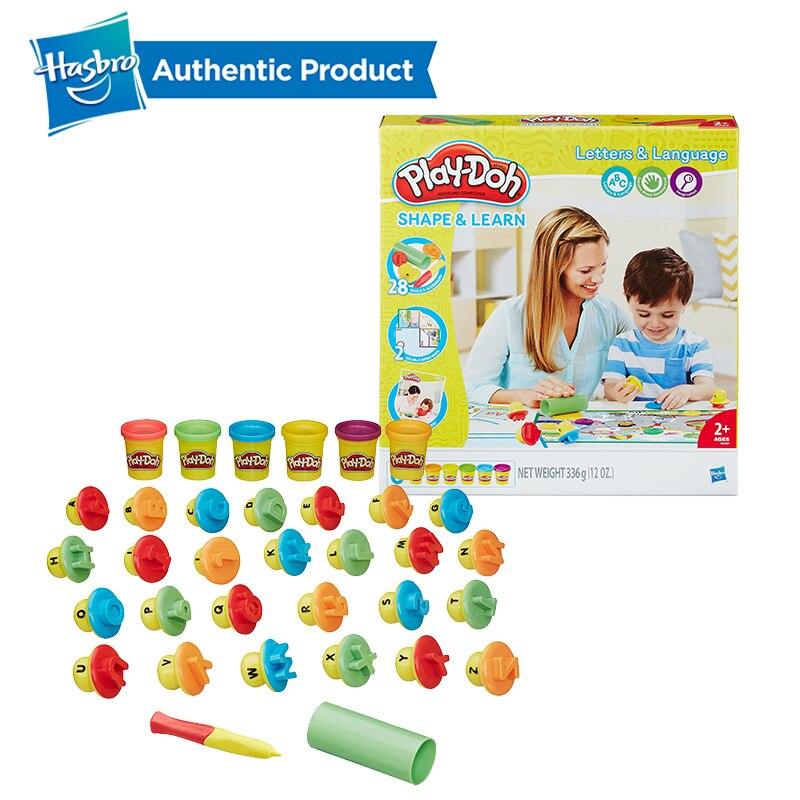 Hasbro play-doh fait à la main couleur argile pâte à modeler sûr et Non toxique Alphabet apprentissage ensemble éducatif bricolage jouets léger doux modélisation