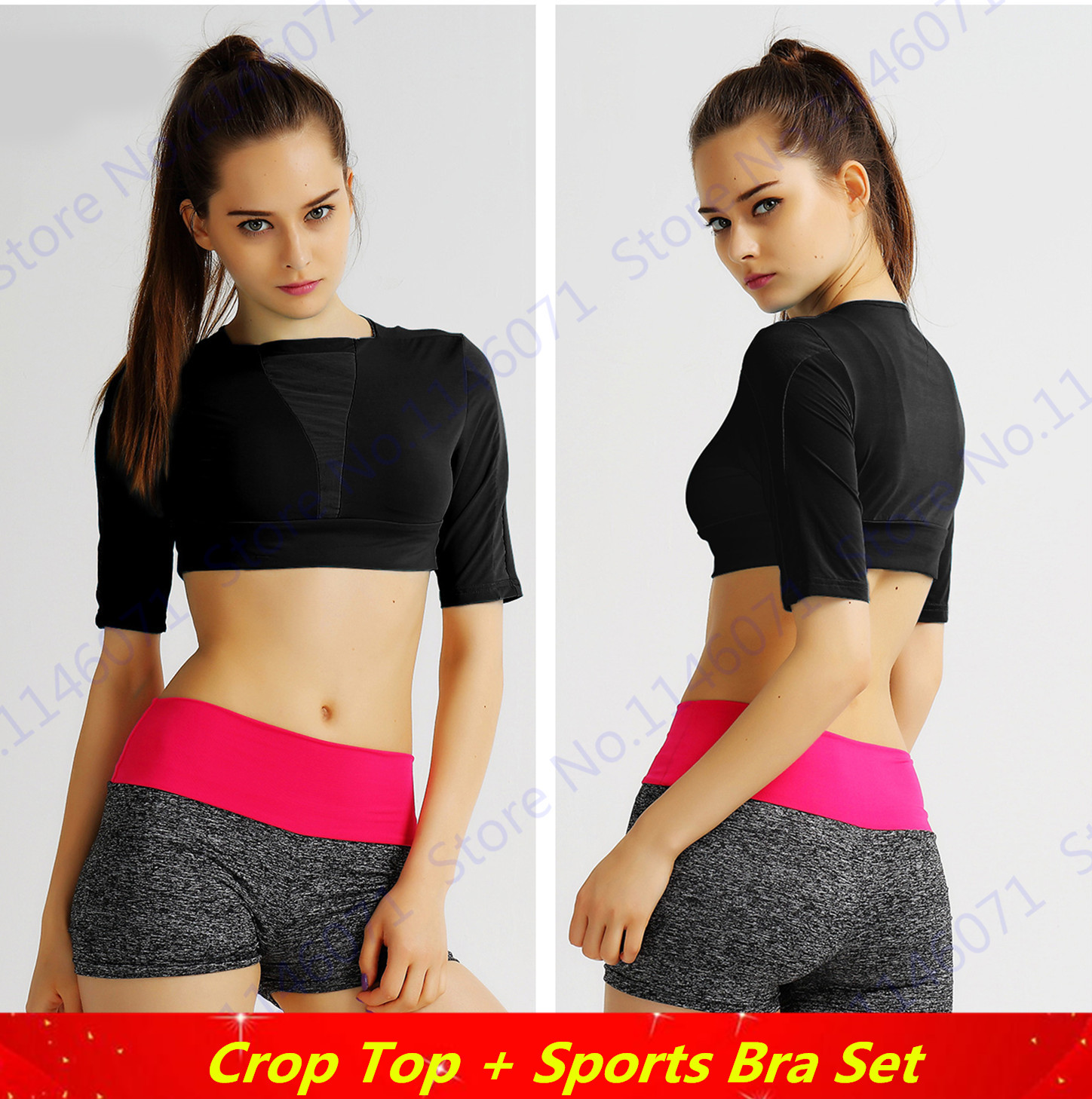24733a6393d Black Fitness Aerobics Crop Top Half-Sleeved Sports Running Shirt Cropped  Tops Elastic Yoga T Shirts Women's Blouses Solid Color