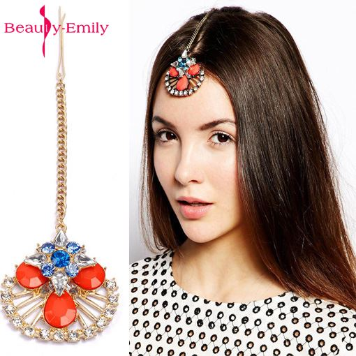 Beauty-Emily  India Muslim Islamic Bride Frontlet Hair Accessories Beads Wedding Jewelry Bridal Hair Hat