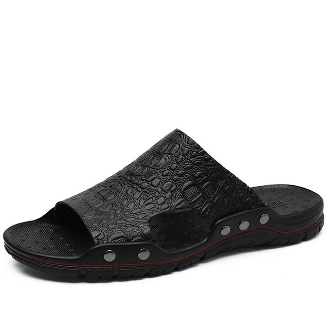 Casual Men Sandals Summer Mens Slippers Rivet British Man Beach Sandals Genuine Cow Leather Lazy Pedal Flip Flops Big Size 48
