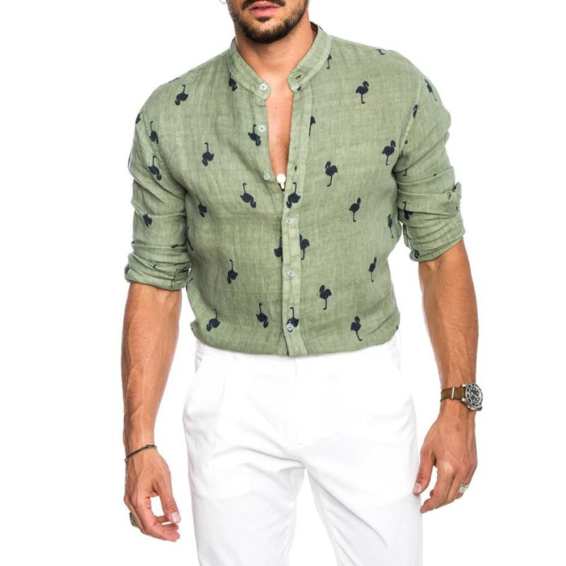 Image 4 - Newest Mens Fashion Casual Printed Flamingo Shirts Cotton Slim Fit Button Placket Korean Collar Long Sleeve Male Social Business-in Casual Shirts from Men's Clothing