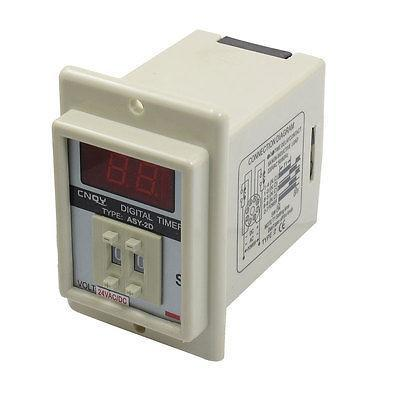 White AC/DC 24V Power on Delay Timer Time Relay 1-99 Second 8 Pins ASY-2D