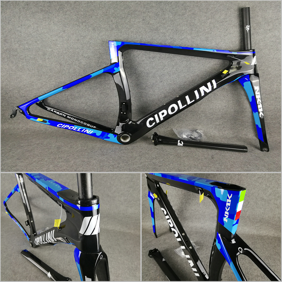 Camouflage Blue T1000 3K/1K CARROWTER Bicycle Cipollini NK1K Carbon Road Bike Frames With BB68/BB30 Matte/Glossy