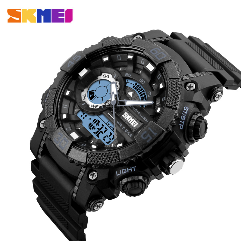 SKMEI Men Sports Watches Digital Quartz Waterproof Watch Dual Time Display Chronograph Wristwatches Relogio Masculino Clock 1228