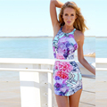 2016 Autumn New European Style Women Floral Print Dress Sexy Backless Halter Dress N1026