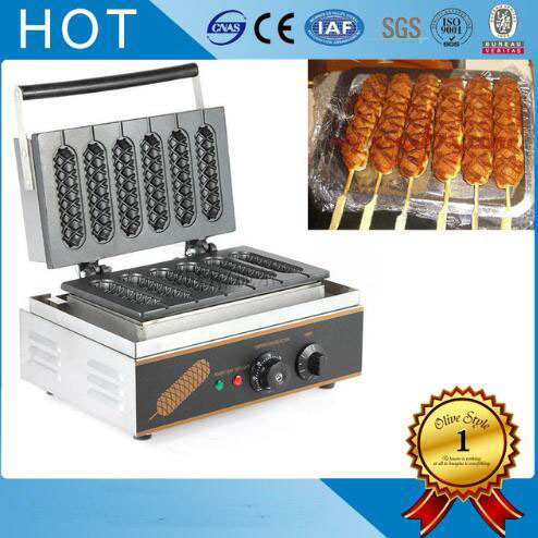 Free shipping 110/220V Non stick French Muffin hot dog lolly stick machine hotdog corn shape waffle maker цена
