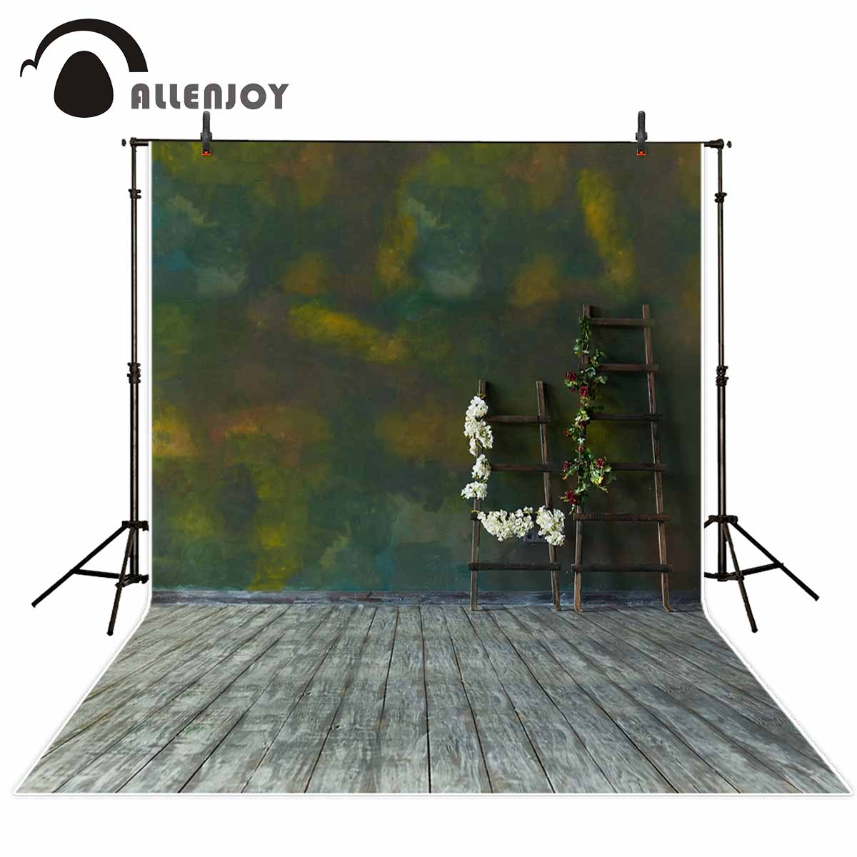 Allenjoy Ladder green wall wooden floor for a photo shoot background cloths photography vinyl photo booth background vinyl allenjoy christmas village decoration house amusement park foto for a photo shoot photographing background photography