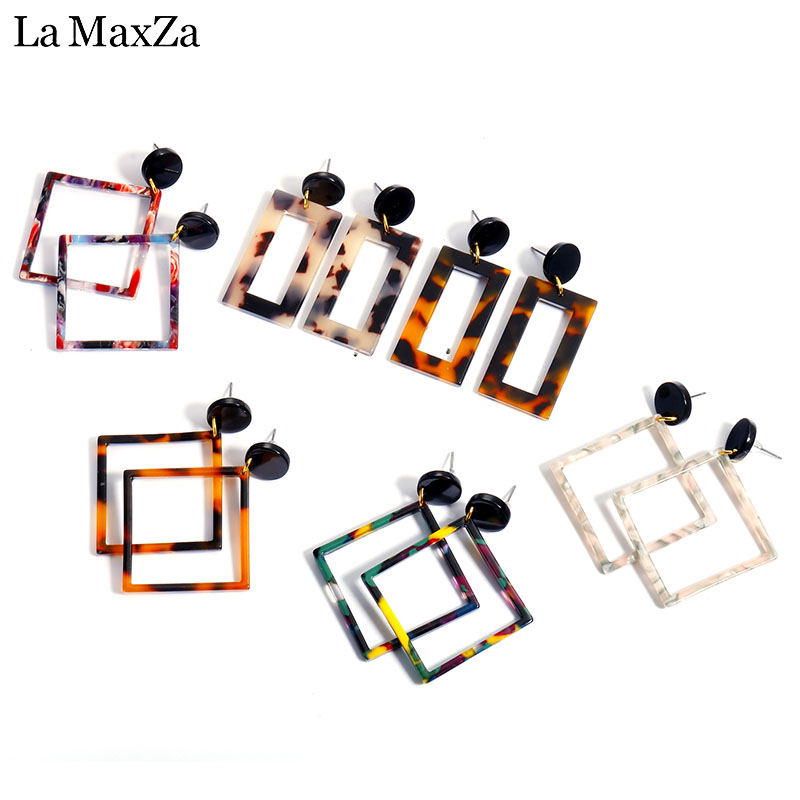 Exaggerated Retro Resin Texture Rectangle shaped Stud Earring For Women Leopard Clear Geometry Ear Acetate Plate Jewelry