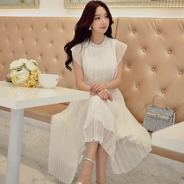e331c1961 original white dress summer 2017 new fashion ladies korean style short  sleeve casual solid long pleated