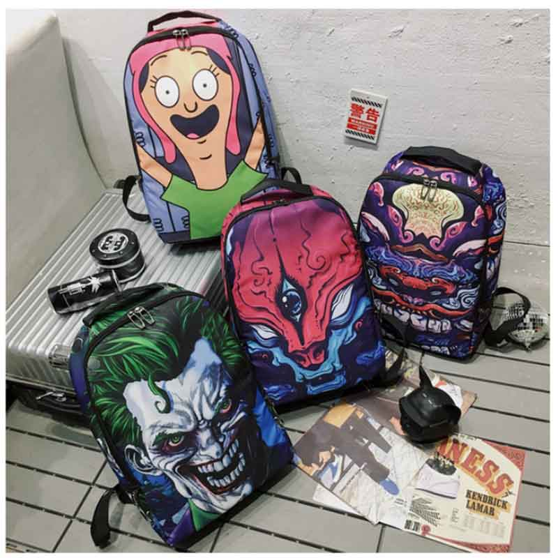 Backpack For Teenagers Hip Hop Girls Boys Cartoon Street Graffiti Backpack Travel Bag Women Laptop Mochila Rucksack School Bag