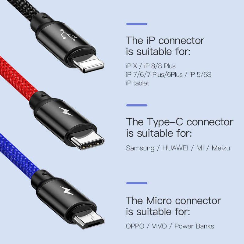 Baseus 3 em 1 cabo usb para iphone tipo c micro usb carregador de carro para samsung s9 huawei cabo de carregamento 3.5a cabo de carregamento rápido