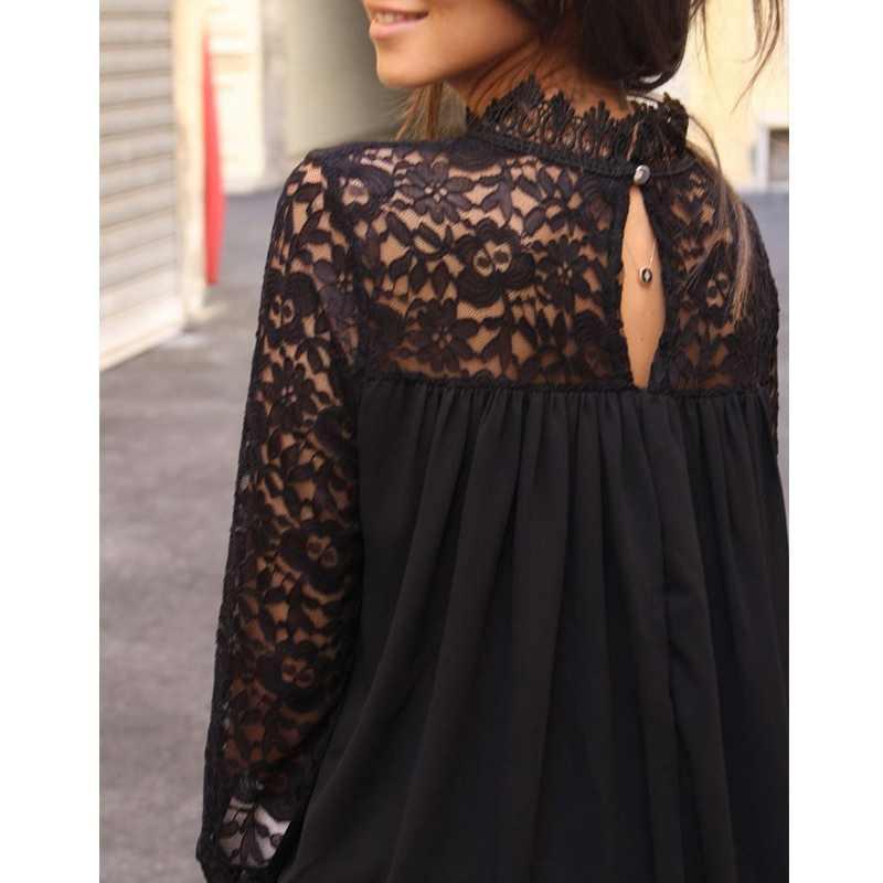 Пикантные Женские топы и блузки черный кружевной цветок блузка женские рубашки с длинными рукавами открытая футболка Женские топы уличная одежда