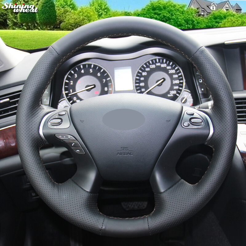 Shining wheat Black Leather Car Steering Wheel Cover for Infiniti JX35 M35 M25 M56 Q70 QX60 Nissan Murano Pathfinder-in Steering Covers from Automobiles & Motorcycles on AliExpress - 11.11_Double 11_Singles' Day 1