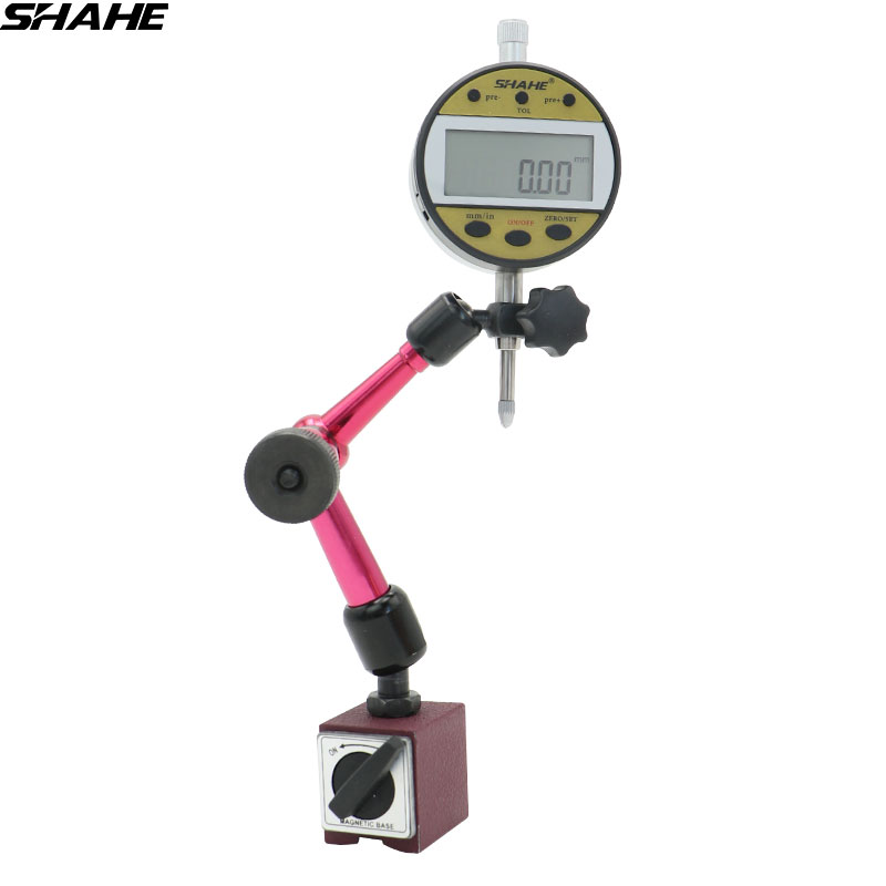 shahe 1 Set Precision Digital Dial Indicator 0 10 mm with flexible stand Magnetic base stand