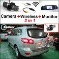 3 in1 Câmera Sem Fio + Receptor + Monitor Espelho Especial fácil DIY Sistema de Back Up de Estacionamento Para Hyundai Santa Fe 2000 ~ 2012