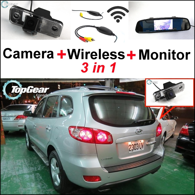 3 in1 Special Camera + Wireless Receiver + Mirror Monitor Easy DIY Back Up Parking System For Hyundai Santa Fe 2000~2012 10 lcd monitor wireless nvr with 4pcs 720p wireless camera make up wireless surveillance system easy instal and easy use