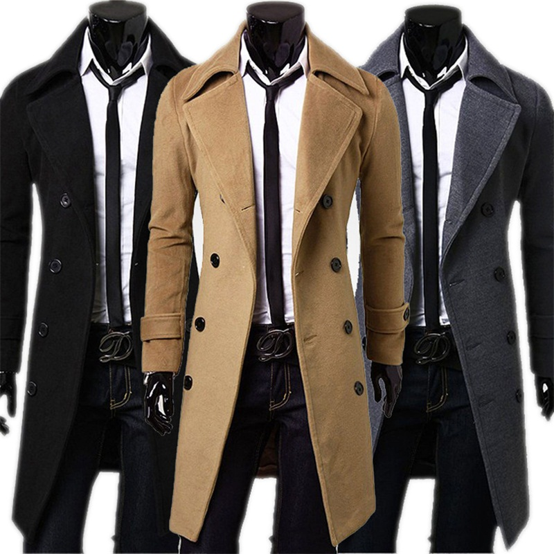 Jacket Long Coat Windbreaker Black Slim Autumn Mens Male Fashion-Brand Top-Quality Khaki