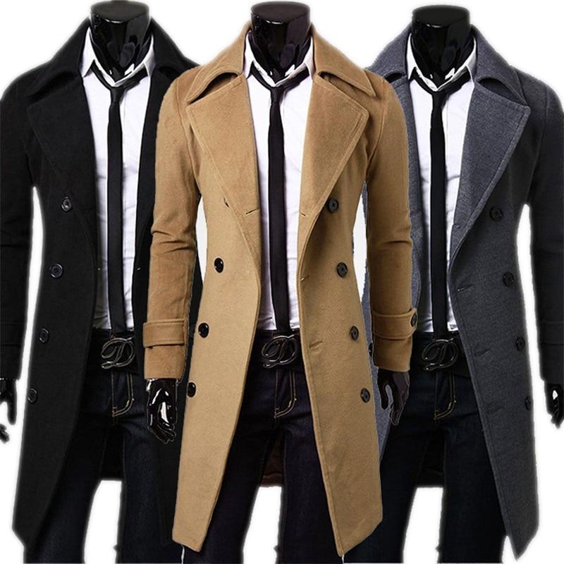Fashion Brand Autumn Jacket Long Trench Coat Men Top Quality Slim Black Male Overcoat Mens Khaki Coat Trenchcoat Windbreaker