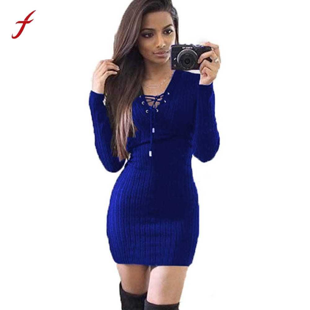31aa80488ad Для женщин зима платье с длинным рукавом трикотажные Bodycon Платья-свитеры  Для женщин пикантные v