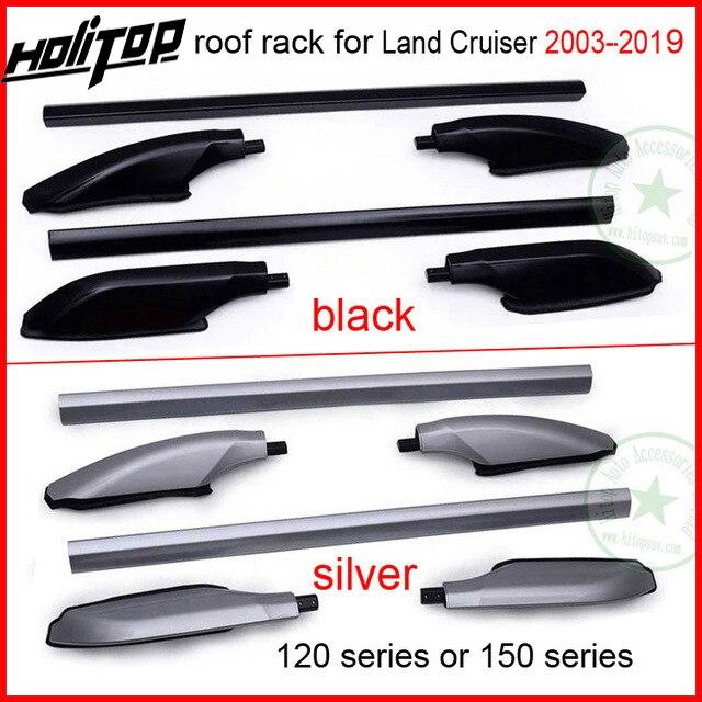 Bar telhado ferroviário rack de teto para Toyota Land Cruiser 120 ou 150 séries FJ120 150 LC120 150 KZJ120 UZJ120 TRJ120 LJ120, prata ou preto