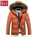 Novo Inverno Casual Duck Down Jackets Zipper Engrossar Casaco Com Pele dos homens de colarinho Para Baixo Casacos e Jaquetas de Neve Quente Marca Sobretudo 3XL X428