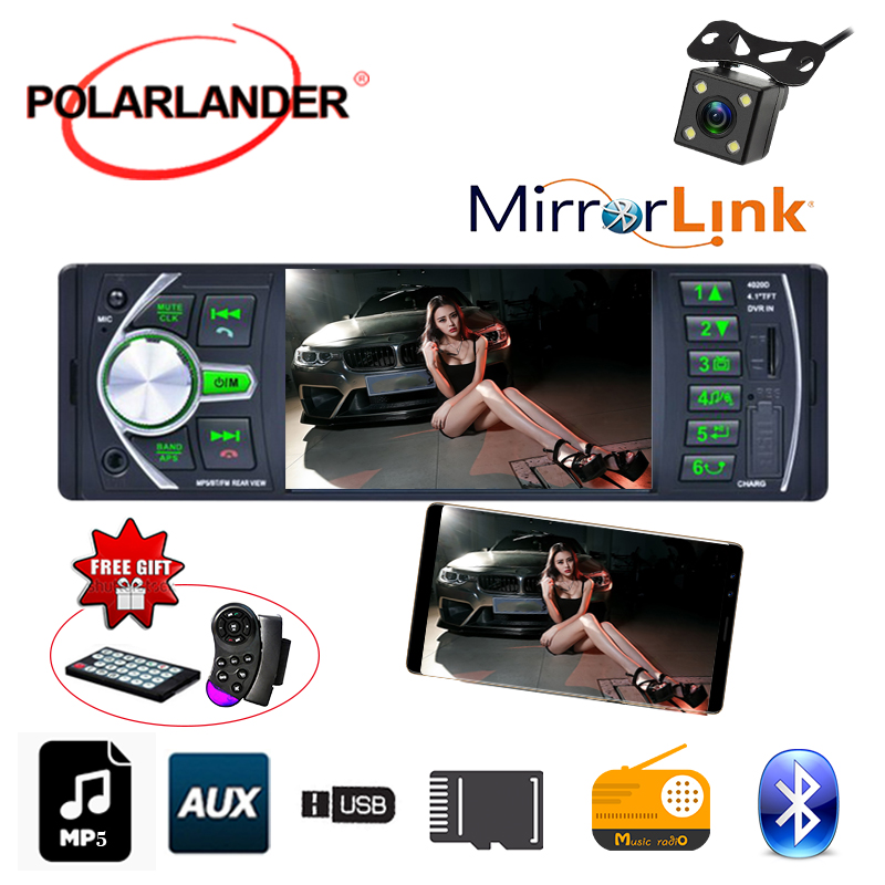 4.1 inch 1 din FM Car Radio mirror link Bluetooth Stereo TF MP3 Player AUX USB radio cassette player Autoradio auto tapes image