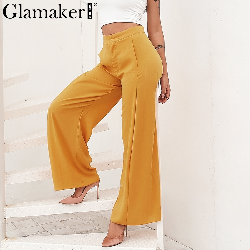 Glamaker White chiffon high waist pants Women casual summer loose long flare pants trousers Elegant wide leg pants bottom 2019