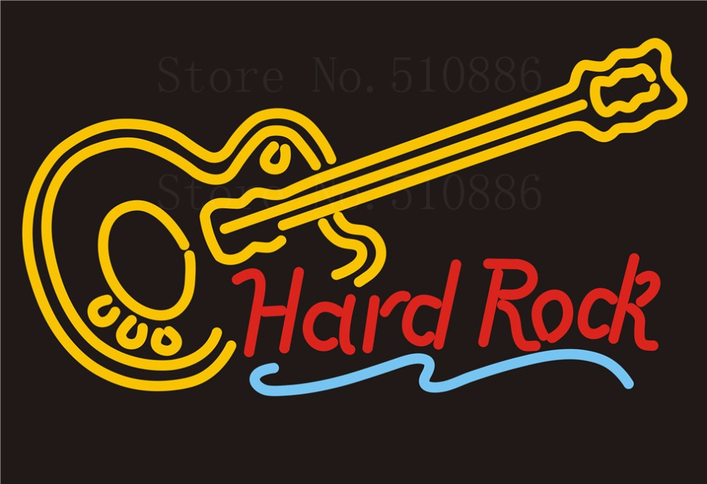 Custom Signage Neon Signs For Hard Rock Guitar Music Glass
