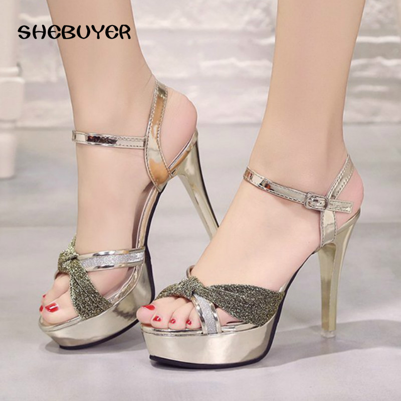 Cm Para Thin Tacones Altos oro Plataforma Sandalias Toe Negro Verano rosado  Señoras plata Partido Tobillo Zapatos Correa El Moda 12 Sexy Peep ... 4ea5eb98d4fa