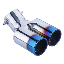 Universal Car Vehicle Exhaust Muffler Steel Tail Pipe:Bending Double Tube(blue)